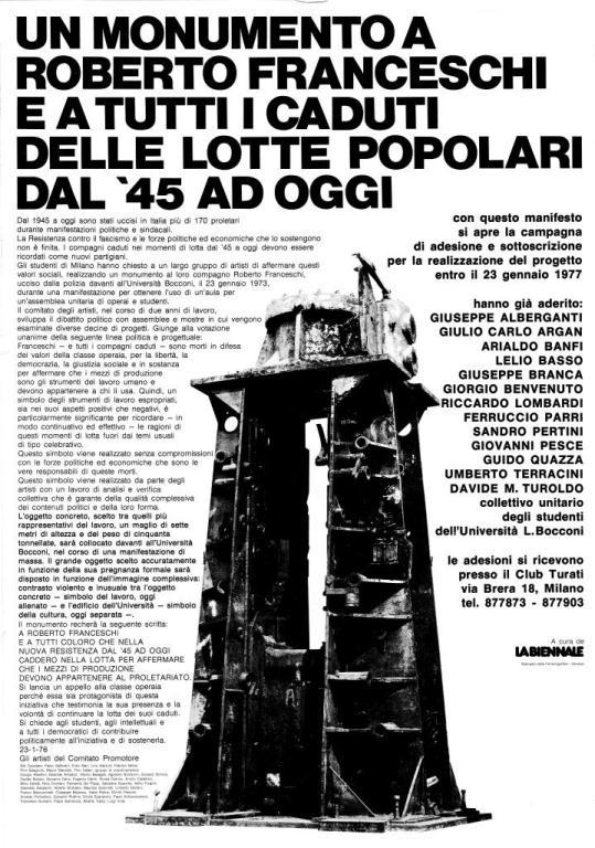 Manifesto de La Biennale per il monumento a Roberto Franceschi