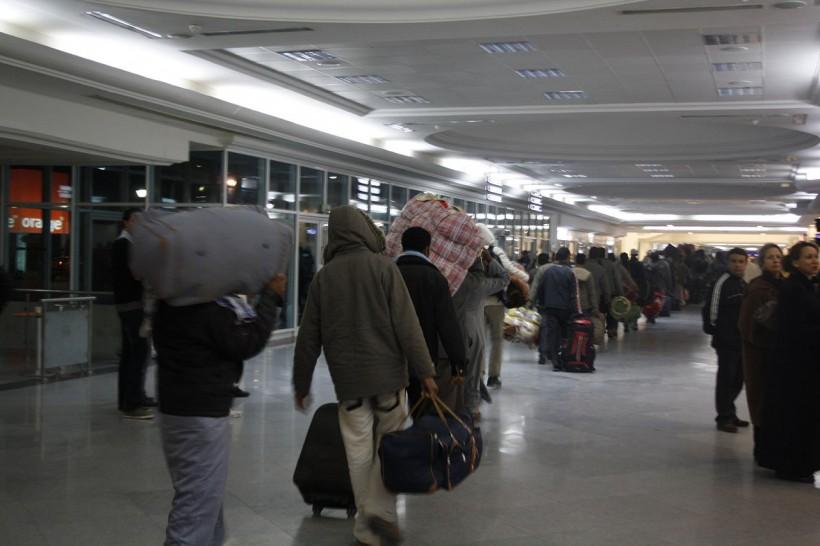 Bangladeshi migrants from Libya at Djerba airport