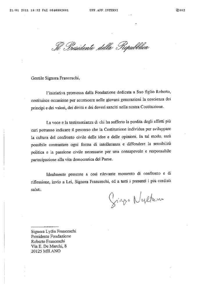 Messaggio del Presidente Napolitano per il 24 gennaio 2011
