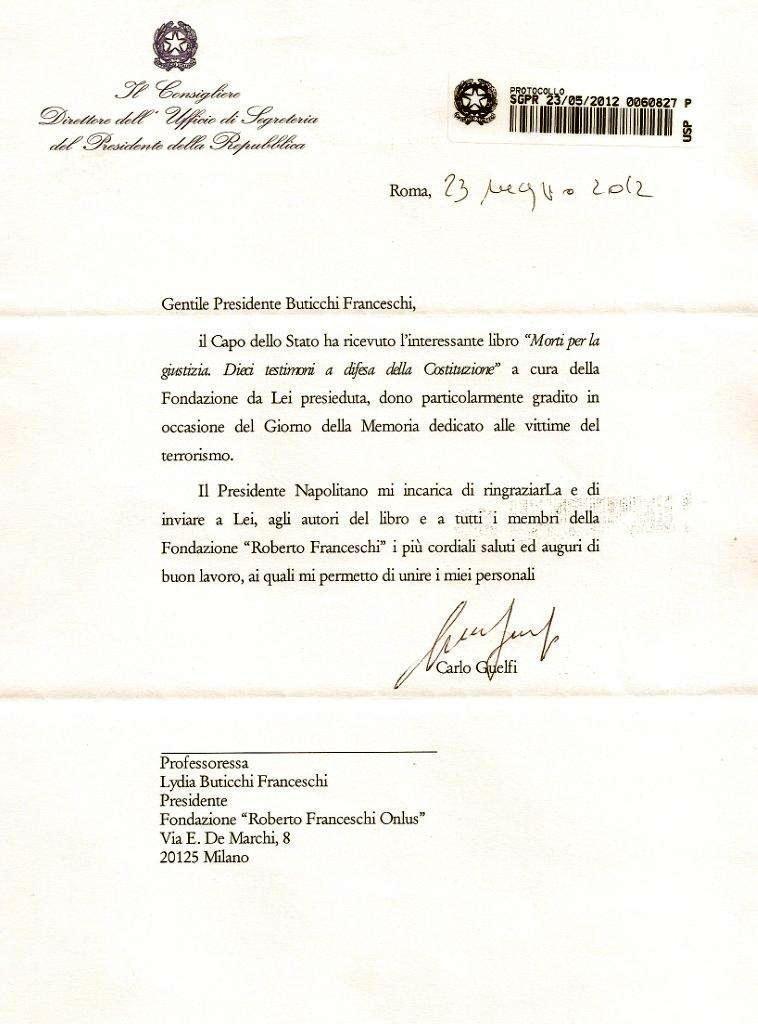 Lettera del Presidente della Repubblica Giorgio Napolitano - 23 maggio 2012