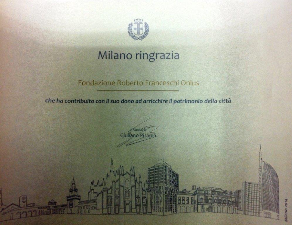 Il Comune di Milano ringrazia per il dono del monumento a Roberto Franceschi