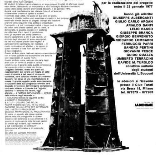 Il monumento a Roberto Franceschi