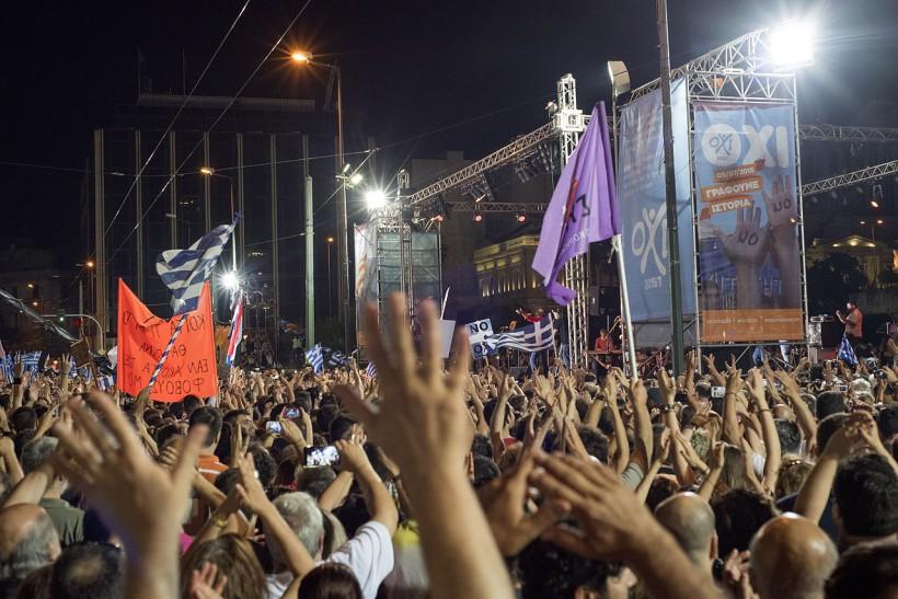 Greek Referendum Demonstration for NO syntagma square Athens Greece