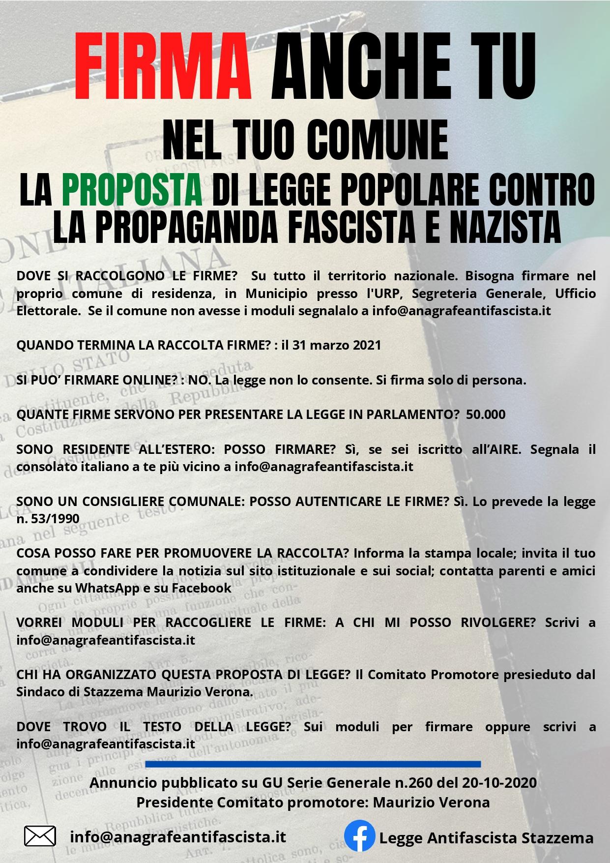 Locandina Vademecum legge popolare antifascista